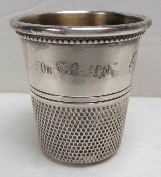 Antique Silver Ornate Engraved Oversized Thimble Family Heirloom photo