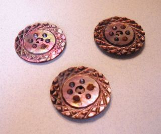 3 Large Antique Carved Pearl Shell Buttons W/ Cut Steels - Smoky Color Geometric photo