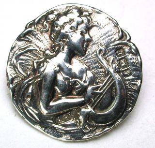 Antique Sterling Silver Button Art Nouveau Woman Design - 7/8