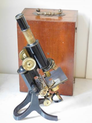 Antique J.  Swift & Son Brass Monocular Microscope,  Mechanical Stage photo