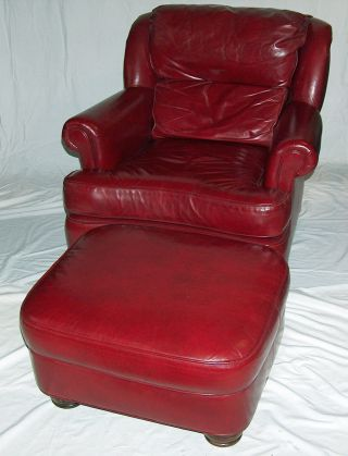 P7853: Hancock & Moore Leather Lounge Chair With Ottoman photo