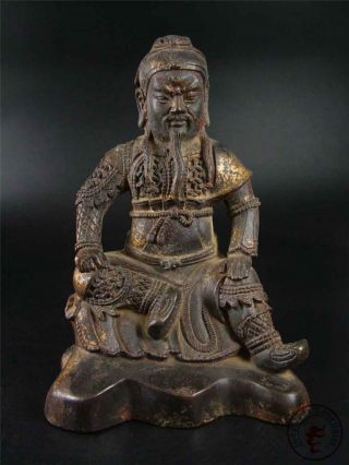 Very Large Antique Old Chinese Gilt Bronze Guan Gong Statue The Hero Qing Dy. photo