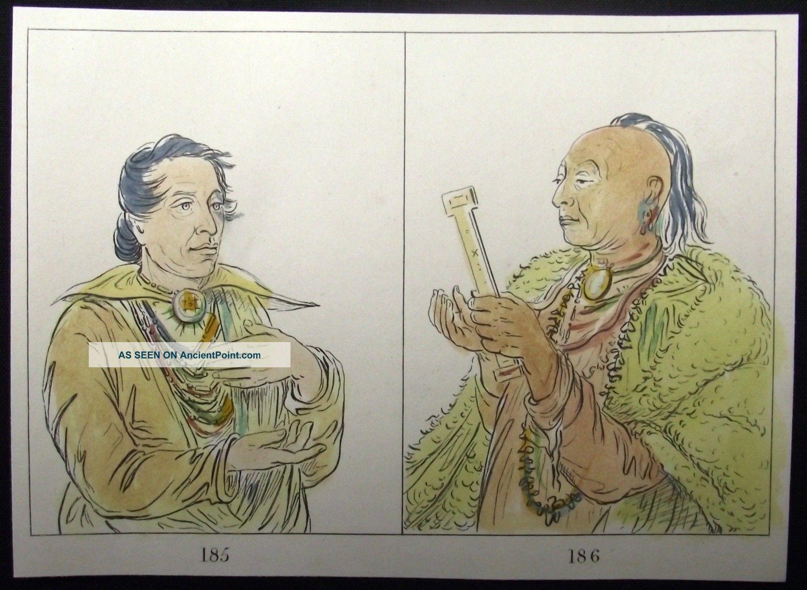 1842 G.  Catlin Handcol Engraving Native American Indians Texan Indians Native American photo