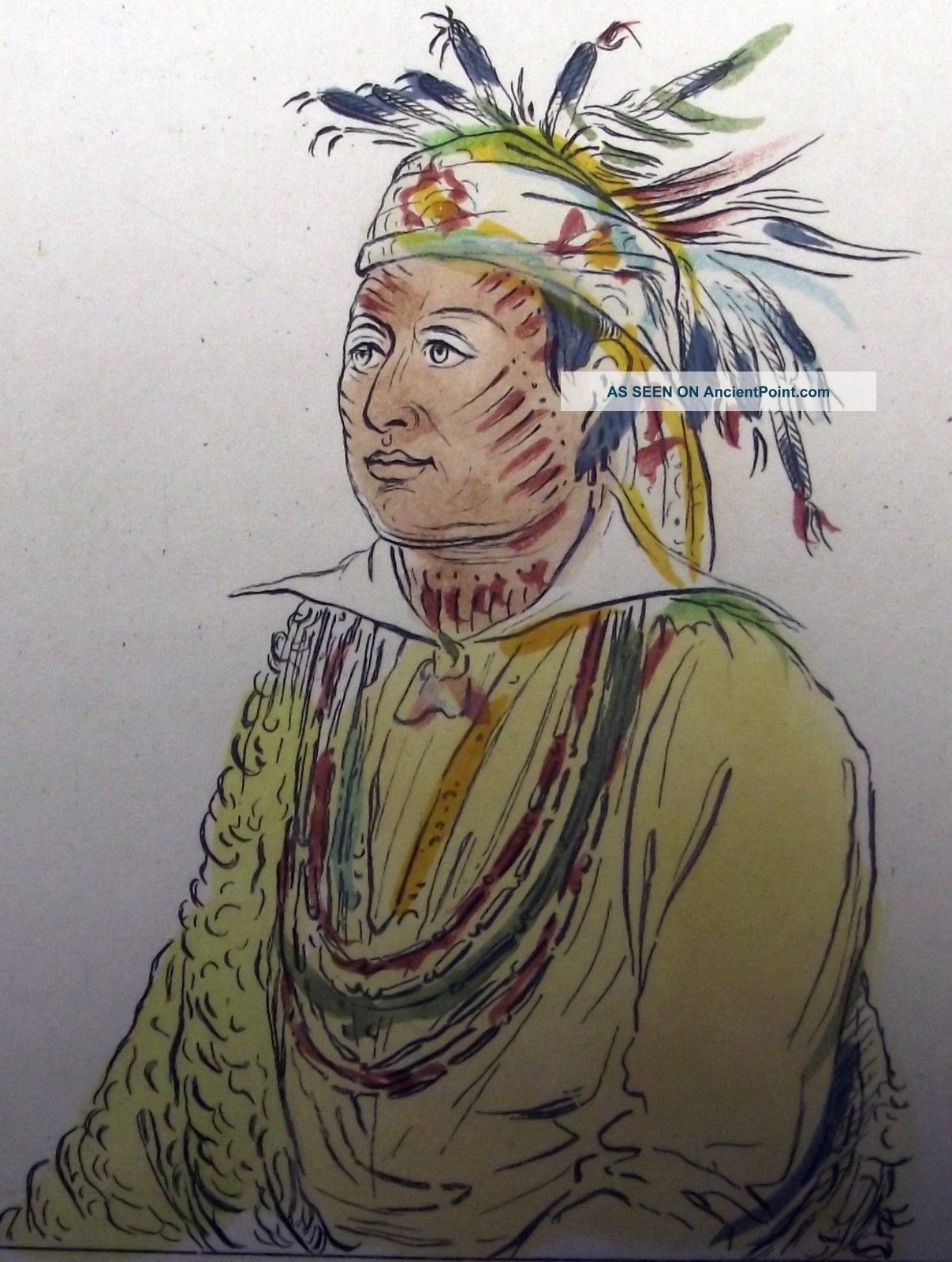 1842 G.  Catlin Handcol Engraving Native American Indians Texan Indians Native American photo