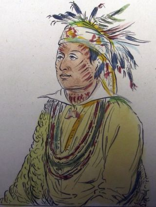 1842 G.  Catlin Handcol Engraving Native American Indians Texan Indians photo
