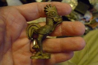 Old Bronze West Coast African Gold Weight Of A Rooster Cast photo
