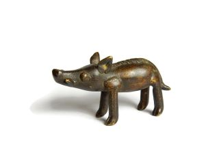 African Antique Cast Bronze Akan Ashanti Gold Weight - A Wild Boar 2 photo