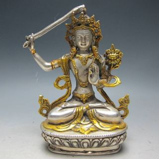 Chinese Silver Bronze Gilt Tibetan Buddhism Statue - - - Manjushri Buddha photo