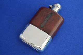 Large Antique Leather Silver Plate Hip Flask - Vintage Drinks Spirit Flasks - photo