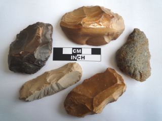 5 X Paleolithic Tools / Scrapers,  Saharan Flint Artifacts - 30 - 70,  000bc (0834) photo