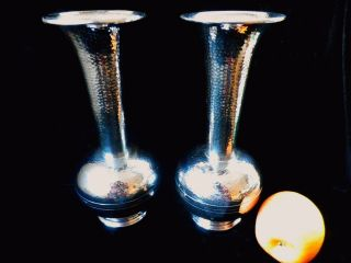 Art Deco Trumpet Baluster Vases,  Planished Chrome,  Very photo