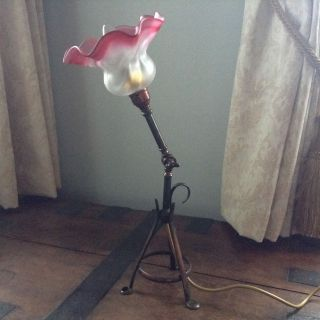Arts And Crafts Copperised Adjustable Lamp With Cranberry Shade photo