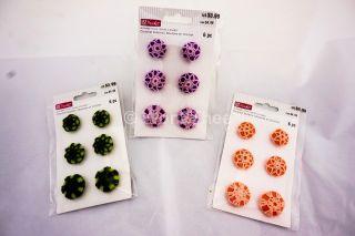 18 Crochet Buttons Orange,  Green,  Purple. photo