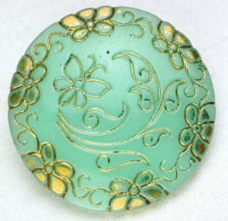 Antique Victorian Glass Button Green Butterfly Pictorial - 7/8