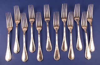 12 Antique French Christofle Silver Rubans Croises Flatware Dinner Forks photo