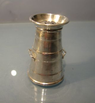 Edwardian 1901 Solid Silver Novelty Miniature Pepper Pot In Form Of Milk Churn photo
