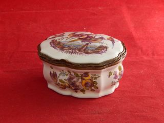 18th.  Century French Faience Trinket Box,  Painted Birds & Flowers.  Marked For Aprey photo