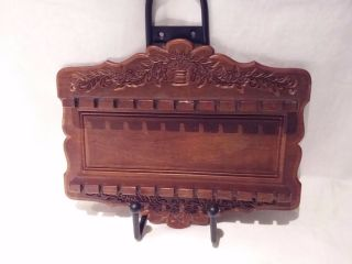 Ornate Vintage Wood Carved Floral Collector Spoon Wall Rack Display Holder photo