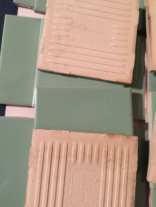 Green 60 ' S Nos Restoration Vintage Ceramic Tile 20pcs Usa 4 5/8