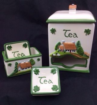 Vintage Irish Shamrock Porcelain Tea Bag Caddy & 2 Tea Bag Holders Hand Painted photo