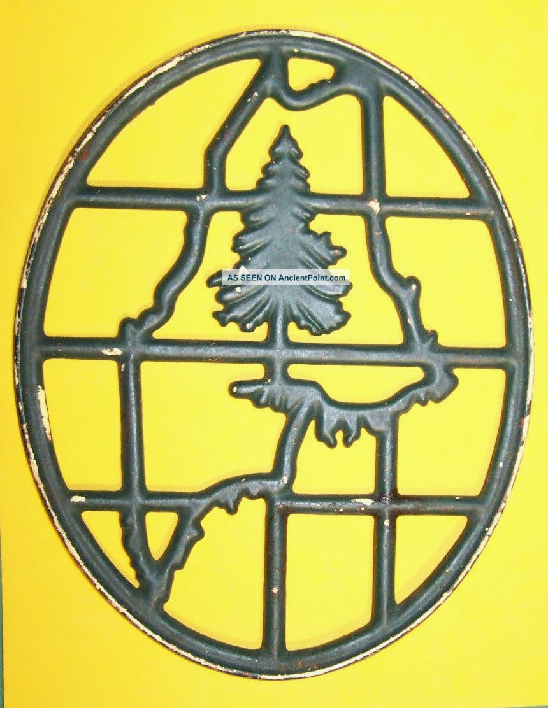 Antique 1900s Portland Stove Foundry Maine Cast Iron Trivet Pine Christmas Tree Trivets photo