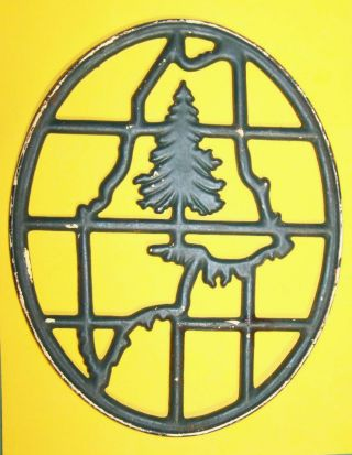 Antique 1900s Portland Stove Foundry Maine Cast Iron Trivet Pine Christmas Tree photo