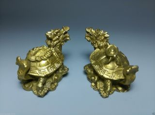 A Pair Collectible Chinese Brass Handmade Dragon Turtle Statues photo