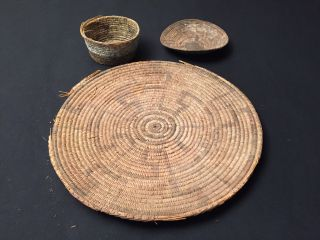 3 Antique Native American Baskets photo