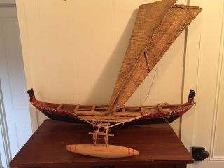 Yap Island Albatross Tail Prow Outrigger Canoe Model Lauhala Sail Micronesia photo