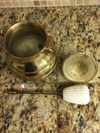 Vintage Antique Brass Fire Starter Smudge Pot With Soapstone Wand photo