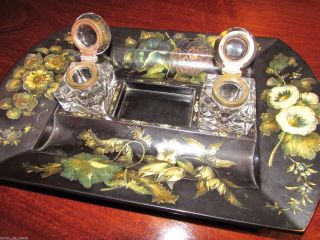 Jennens & Bettridge Antique Double Partner Inkwell Desk Stand Pape Mache C1840 ' S photo
