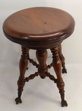 Vintage Antique Holtzman Wood Piano Stool Adjustable Height photo
