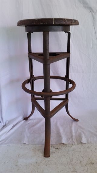Mid - Century Industrial Factory Iron & Oak Stool,  Steampunk photo