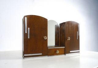 Rare French Art Deco Modernist Wall Medicine Apothecary Cabinet Bar Mirror photo