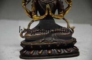 Old Tibet Tibetan Copper Old Handwork Arm Tara Buddha Statue photo