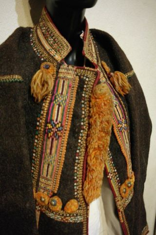Antique Ukrainian Brown Felt Hutsul Coat/mantle - Sardak,  Rakhiv,  Transcarpathian photo