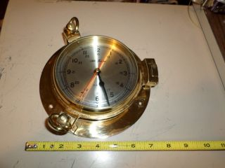 Vintage Seth Thomas Brass Porthole Marine Time Quartz Clock Wall Mount photo