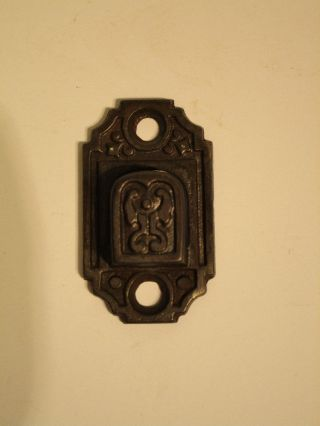 Antique Victorian Eastlake Window Shutter Latch Lock Catch Part Cast Iron Keeper photo
