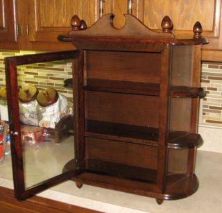 Vintage Wall Cabinet Display Case Glass Door & Sides Curio Big photo
