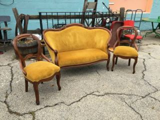 3 Piece Gold Velvet Victorian Settee & 2 Side Chairs photo