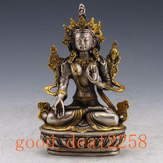 Old Tibet Silver Copper Gilt Hand - Painted Tibetan Buddhist Statue - - Green Tara photo