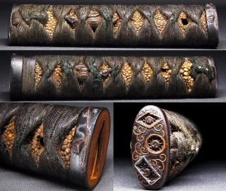 "Tsuka Of Sword 18 - 19th C Japanese Edo Antique ""crests"" Kashira Menuki C916 photo"