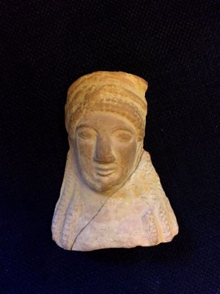 Ancient Greek Selinunte Sicily Terracotta Urn Vase Fragment With Relief Face photo