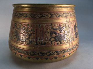 Old Antique Middle Eastern Or Eastern European Copper Hammered Byzantine Bowl photo