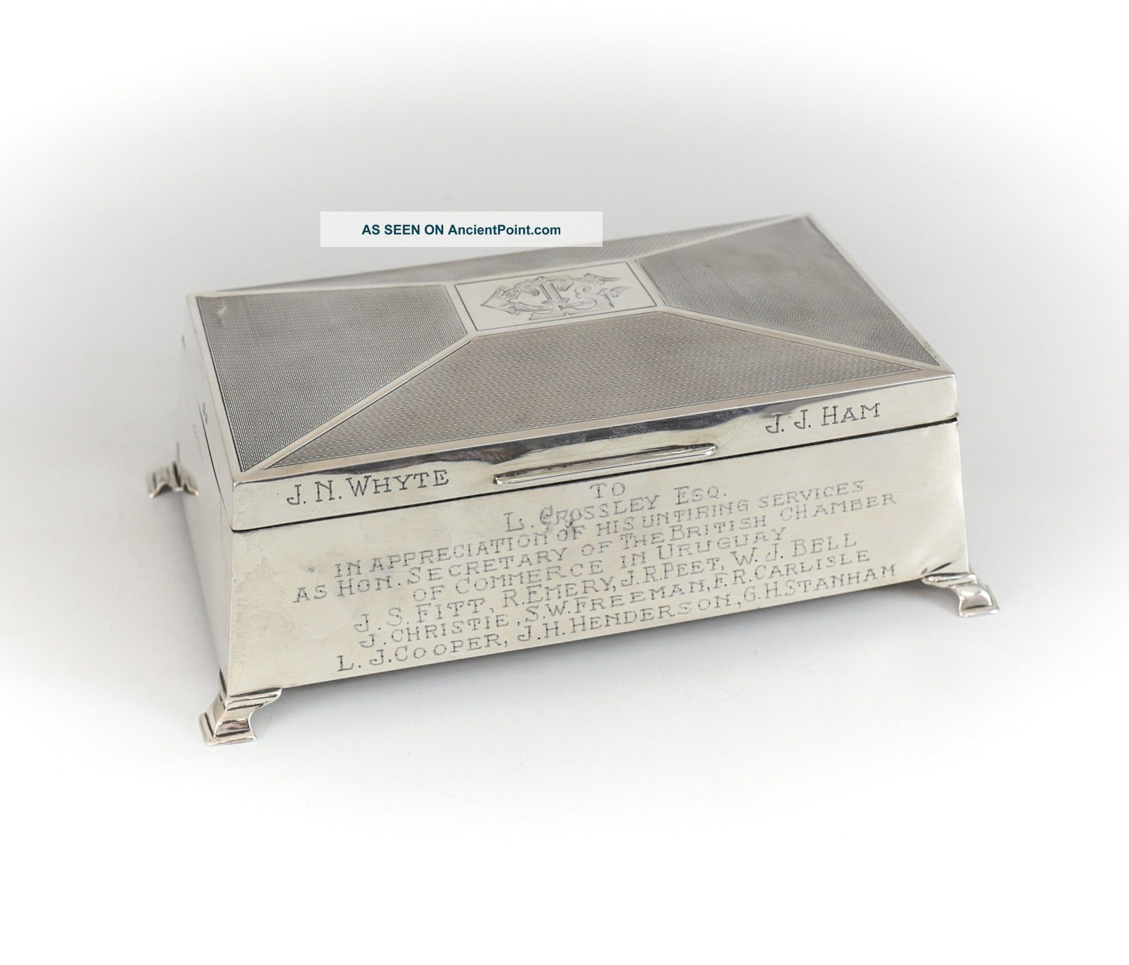 William Adams Ltd Birmingham Sterling Silver Wood Lined Cigarette Box,  C1940 Boxes photo