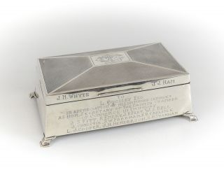 William Adams Ltd Birmingham Sterling Silver Wood Lined Cigarette Box,  C1940 photo