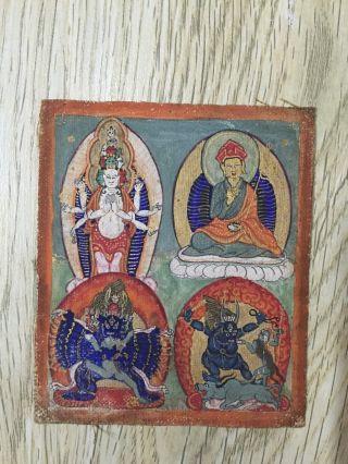 Mongolian Antique Buddhist Old Thangka 18c - 19c photo