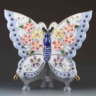Chinese The Color Porcelain Handwork Carved Butterfly Statues G367 photo