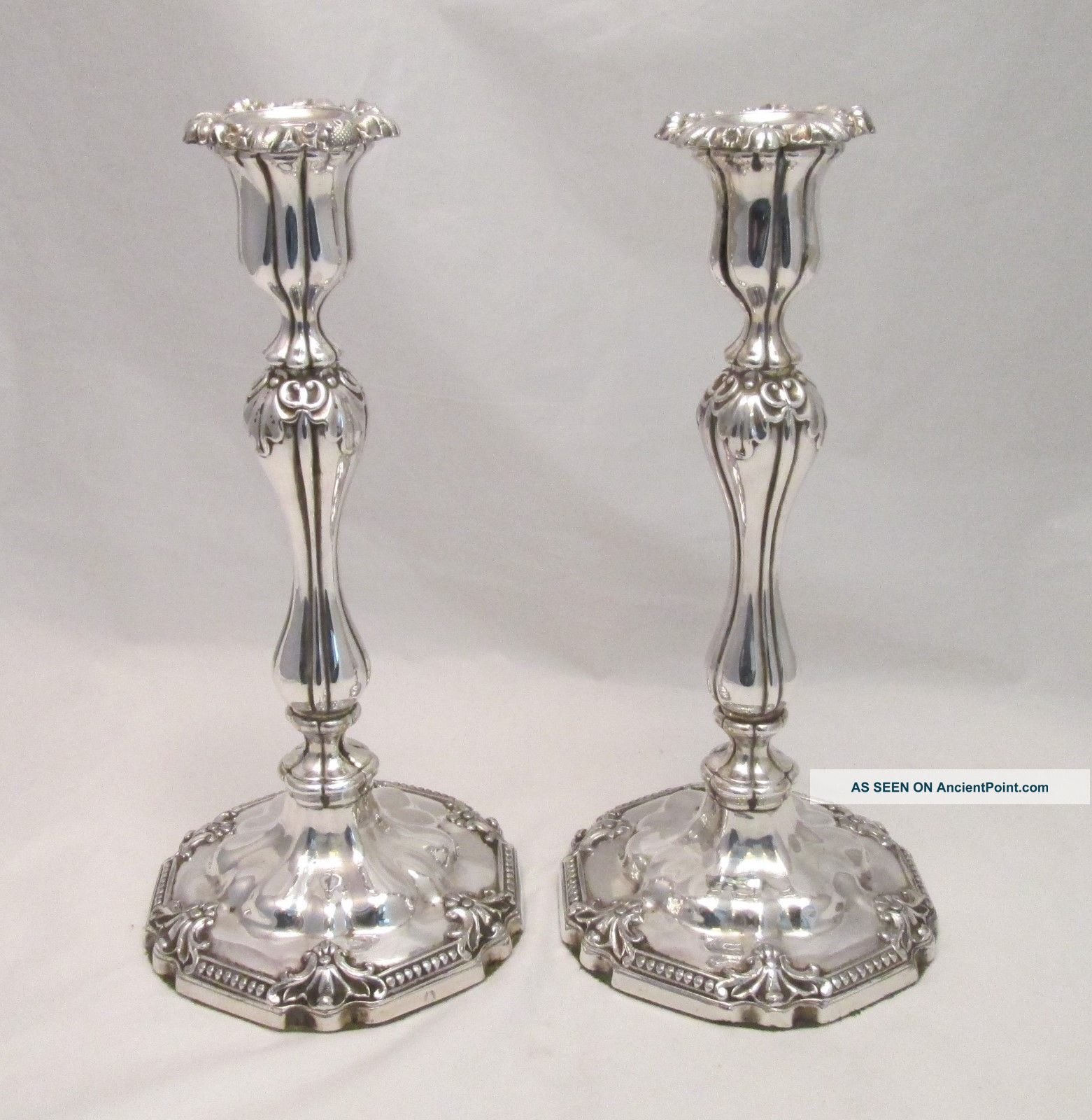 An Ornate Old Sheffield Plate Candlesticks By Roberts Smith & Co - C1830 Candlesticks & Candelabra photo