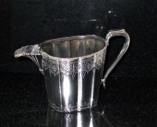 Antique Silver Plate Milk Jug,  Etched Design photo